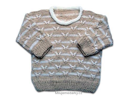 ručně pletený svetr béžovo - bílý 3c8c0d35cc