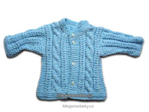 ručně pletený svetr světle modrý s copy - 62 c9a2c26195