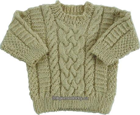 ručně pletený svetr béžový s copem - 68 04e8662811
