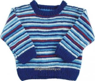 23a2b4c5064 ručně pletený svetr modrý s tenkými proužky - 86 empty