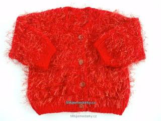 54725180428 ručně pletený chlupatý červený svetr - 80 empty