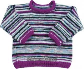 6b2e15e9dc1 ručně pletený svetr fialovo-bílý s tenkými proužky - 80 empty